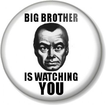 BIG BROTHER IS WATCHING YOU Pin Button Badge George Orwell 1984 Novel Book Movie